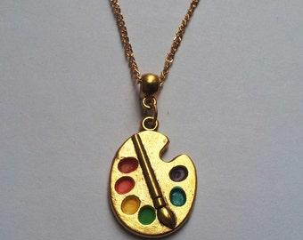 Gold Artist Palette Necklace , Artist Necklace , Enamel Necklace , Multicolour Necklace , Artist Gift , Painter Necklace , Handmade Gift