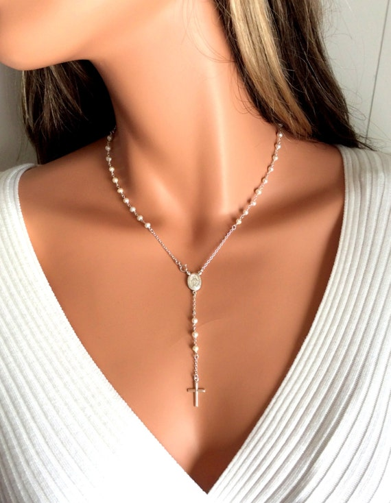 Pearl rosary necklace women cross silver rosaries sterling aloadofball Images