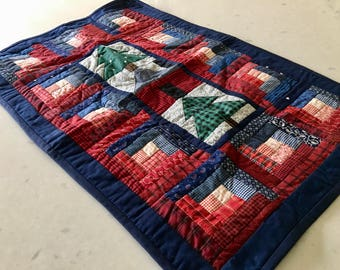 QUILT TABLE RUNNER or Wall Hanging - Squares, Handmade, Pine Christmas Trees, Table Decoration, Holiday Decor, Plaid, Linens, Hand Stitched