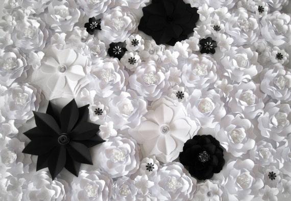 5x8ft weiße Blume Hintergrund schwarz und weiß-Party Blumen