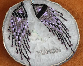 Lavender Grey Feather Inspired Beaded Earrings
