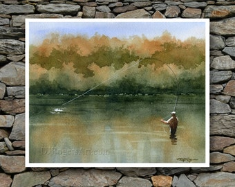 "Fly fishing Art Print - ""Serenity"" - Watercolor Painting - Angling Art - Signed by Artist DJ Rogers - Wall Decor"