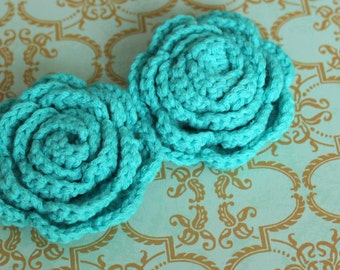 Lot of 2 Dark Aqua Crochet Flower Appliques - 3D Ruffled Rose for Headbands, hairclips and brooches