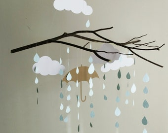 Raindrop Mobile - Baby Mobile, Mobiles, Hanging Mobile, Branch Mobile, Cloud Mobile, Nursery Mobile, Raindrop Mobile, Custom Color Mobile