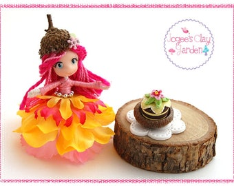 Mini Pose-able artistic polymer clay Garden Pixie Doll with Tea Cake (#7) by Jogee's Clay Garden