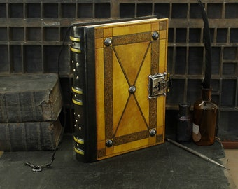 """Large Leather Journal with Lock and Key, Yellow Antiqued Leather - """"Full Moon"""""""
