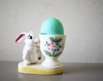 Vintage Easter Bunny Eggcup | MIJ | Spring Decor | Easter Decoration | White Rabbit | Figural Egg Cup | Novelty Easter Figurine