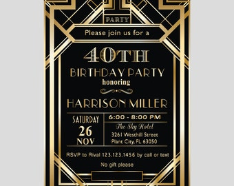 Printable Great Gatsby Art Deco Elegant 30th 40th 50th 80th 90th Birthday Surprise Party Invitation, Adult Invite Instant Download Ms Word