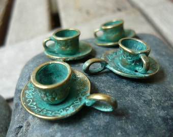 Handpainted Verdigris Patina Metal Charms Cup & Saucer (18027) - 26 x15mm