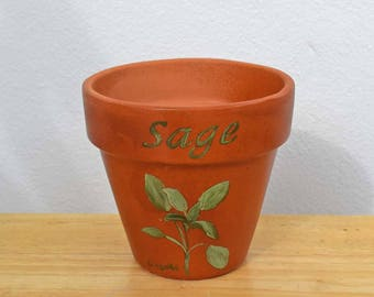 Herb Pot 4 Inch Red Clay Terracotta Hand Painted Sage Indoor/Outdoor Flower Pot Illustrated and Lettered