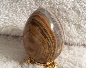 Alabaster marble swirl egg brow w/ gold stand