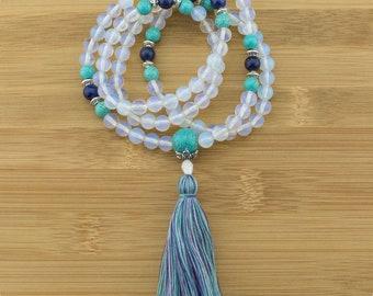 Opalite Mala Necklace with Turquoise Magnesite & Lapis Lazuli   8mm   108 Buddhist Prayer Beads   Free Shipping