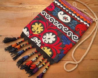 suzani bag with tassels