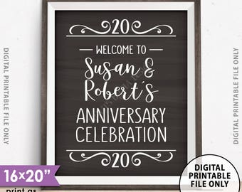 """Anniversary Party Sign, Welcome to the Anniversary Celebration Decoration, Wedding Anniversary Gift, PRINTABLE Chalkboard Style 8x10/16x20"""""""