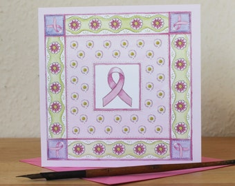 Pink Ribbon Card, Blank Square Breast Cancer Card, Pretty Floral Get Well Card, Donation to Cancer Research UK
