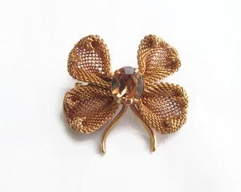 Vintage Napier Brooch Dogwood Flower Gold Mesh and Topaz Rhinestone 1950s