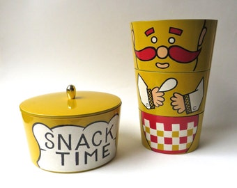 Snack Time vintage Chef Stacking and Nesting Canister Set