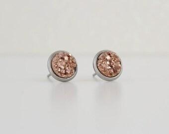 Copper Metallic Opaque Druzy Earrings | ATL-E-153