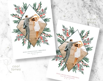 Green Christmas Holiday Photo Cards