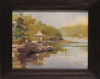Reflections from Mohonk Lake Bridge - Plein Air Oil Painting by Jennifer Brandon - Jaché Studio