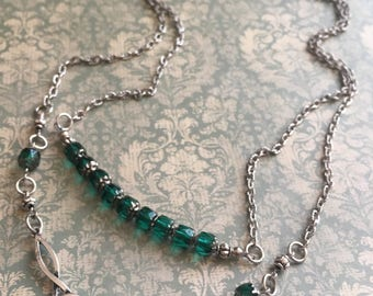 Item 385    Celtic Trinity  Knot Pendant Two Strand Emerald Green Beaded Necklace