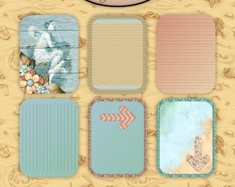 Digital Scrapbook: Pocket Life, By The Sea Rounded Journaling Cards