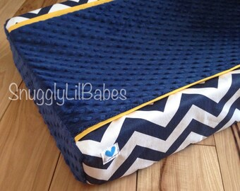 Navy chevron, yellow trim and navy minky dot changing pad cover