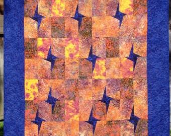 """Star-Lit Batik Quilt 46.5"""" x 53"""""""