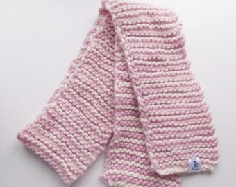 Pink and white scarf, kids knit scarf, kids winter scarf, toddler scarf, wool scarf, kids pink scarf, knit pink scarf, knitted scarf