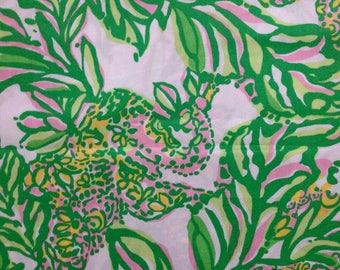 "seeing pink elephants poplin cotton fabric square 17""x17"" ~ lilly pulitzer"