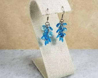 Chainmaille Shaggy Loops Earrings Blue Glass Beads