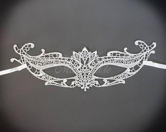 Silver Masquerade Mask - Brocade Lace Mask - Mardi Gras Mask - Lace Mask for Masquerade Wedding, Prom Masquerade