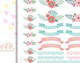 Spring FLORAL WEEKEND banners   Printable Planner Stickers Kit Set   Erin Condren, ECLP   Happy Planner   Instant Digital Download