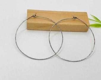 Rustic Hammered sterling silver round hoop earring