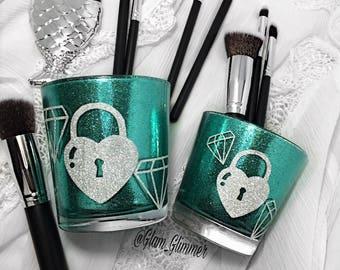 Set Of 2 Gitter Diamond Makeup Brush Holders, Makeup Brush Storage