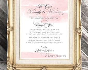 Wedding Favor Donation Card - In Lieu of Favors - Digital File - Blush Watercolor