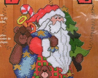 Vintage 2000 Janlynn Sugarplum Greeters Plastic Canvas Christmas Holiday Kit Welcome Front Door Sign Hanging Santa Welcome SGP-1426