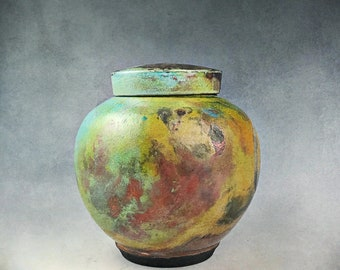 Turquoise Copper Raku Ceramic Urn, Keepsake Urn, Pet Urn