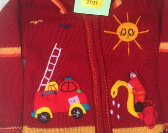 2T/3T Red Kids Sweater Zip Hoodie Toddler Firefighter Clothing Knit Sweater Kids Cardigan  Clothes Handmade Sweater Hipster
