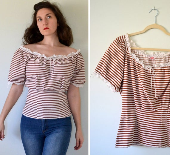 Carmelita Blouse | vintage 40's stripe peasant blouse | off shoulder striped | small