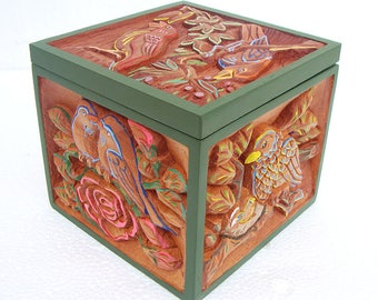 Wooden box with carved birds/wood box with carved bird