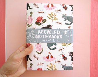 Australian Notebook Set / recycled / notebooks / illustrated / eco