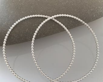Handmade silver beaded wire bangle, Silver wire bangle, Silver stacking bangle, Simple bangle