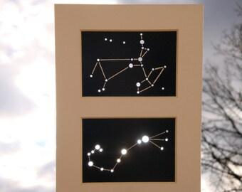 Sagittarius & Scorpio - Customizable Unframed Matted Aceo Zodiac Pair - Shadow Constellations Sun Catcher - Celestial Collection DDOTS