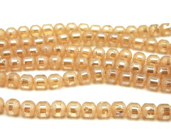30 glass beads 4 mm frosted and metallic salmon color
