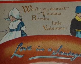 Love in a Sausage Antique Tuck Valentine Postcard