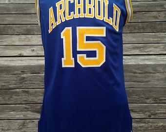Vintage 80s 90s Archbold Blue Streaks Basketball Jersey by Champion - Size 40 - Medium - Student section - Archbold High School