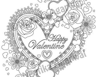 Valentine Heart- Valentine - Adult Coloring Page - Valentine's Day Coloring Page - Printable Coloring Page - Digital Download