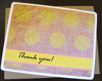 Pink/Yellow Thank You Note Card Set