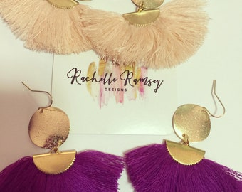 Tassel earrings with gold detail